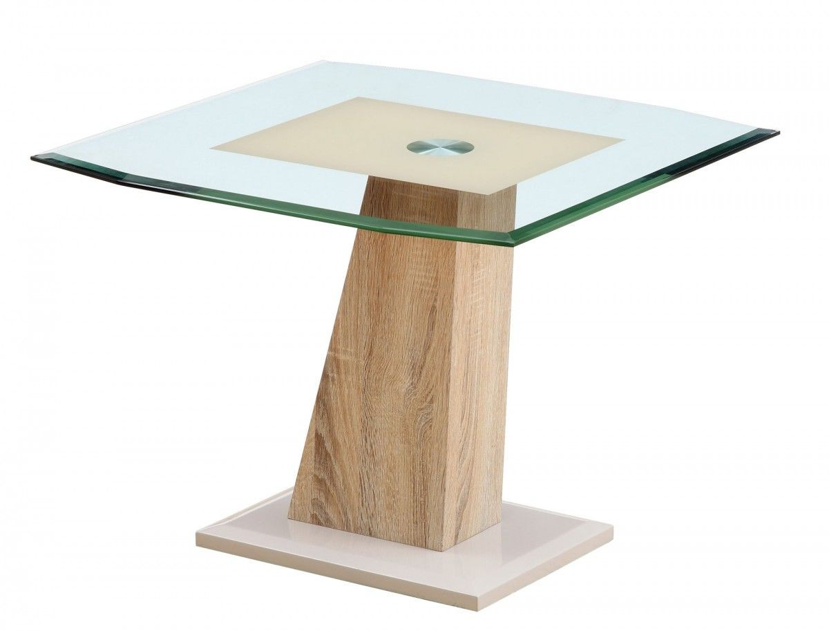 Oak And Glass Table Lamps: Eva Lamp Table Oak, Ivory & Clear Glass Top