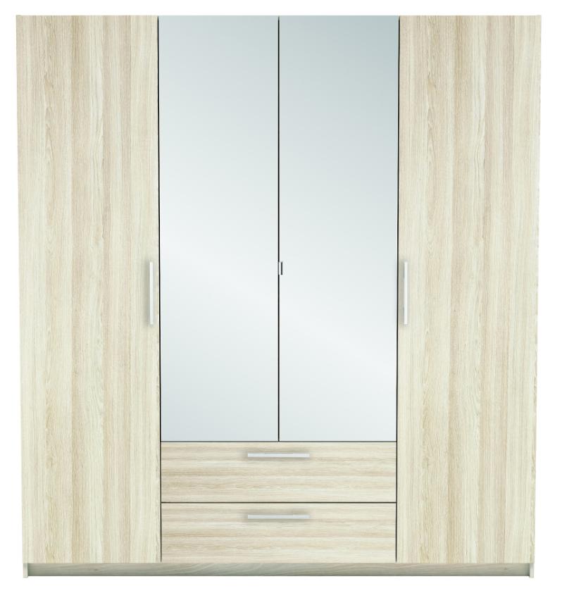 New York 4 Door Wardrobe - Light Oak