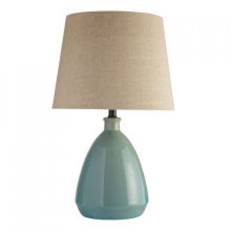 Darcey Crackle Ceramic Blue Table Lamp