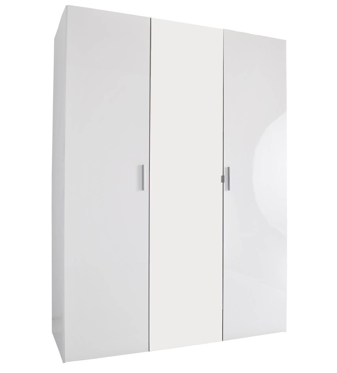 JAX 3 Door Mirrored Wardrobe - High Gloss White