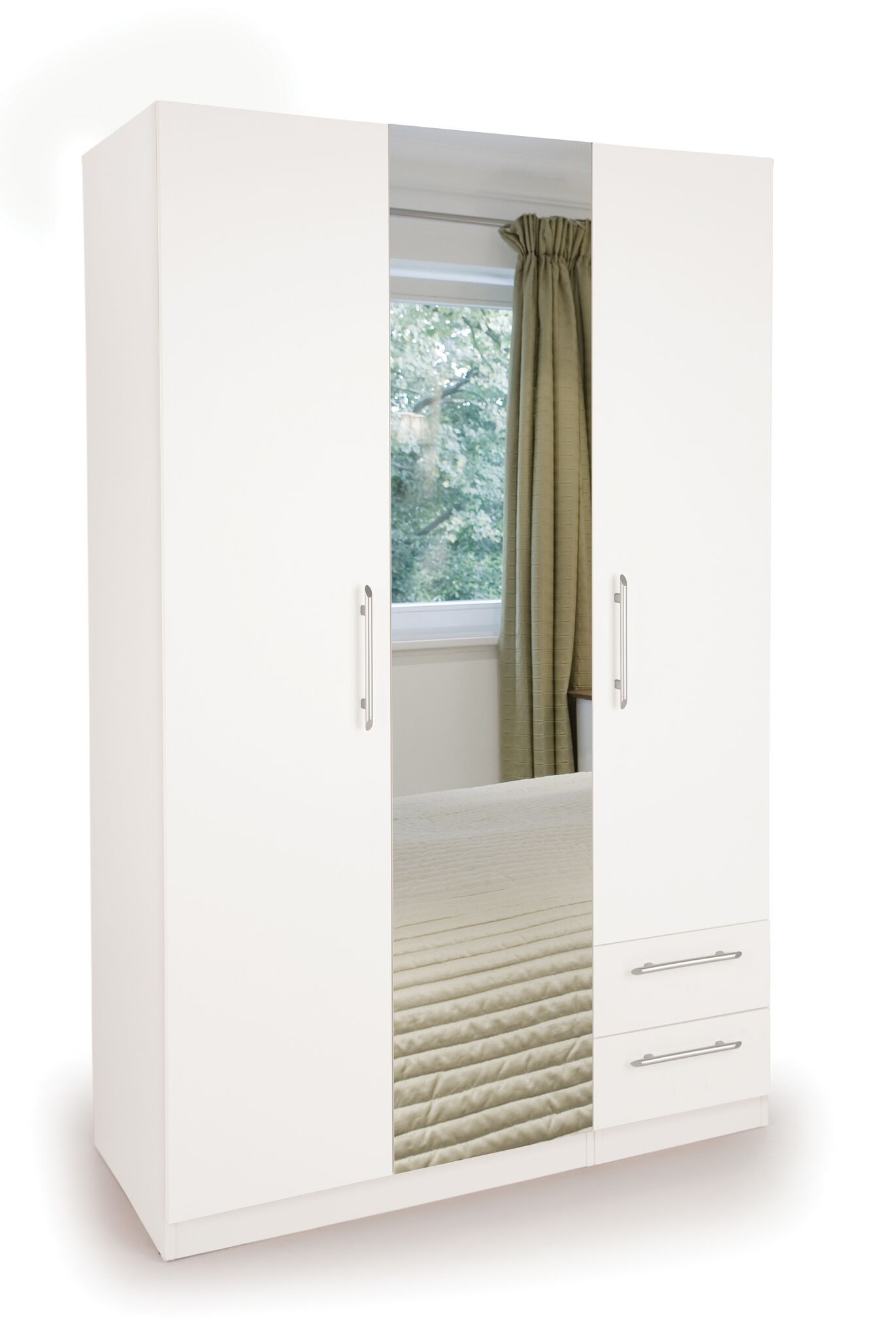 Connect Acton 3 Door Wardrobe with 2 Drawers and Mirror