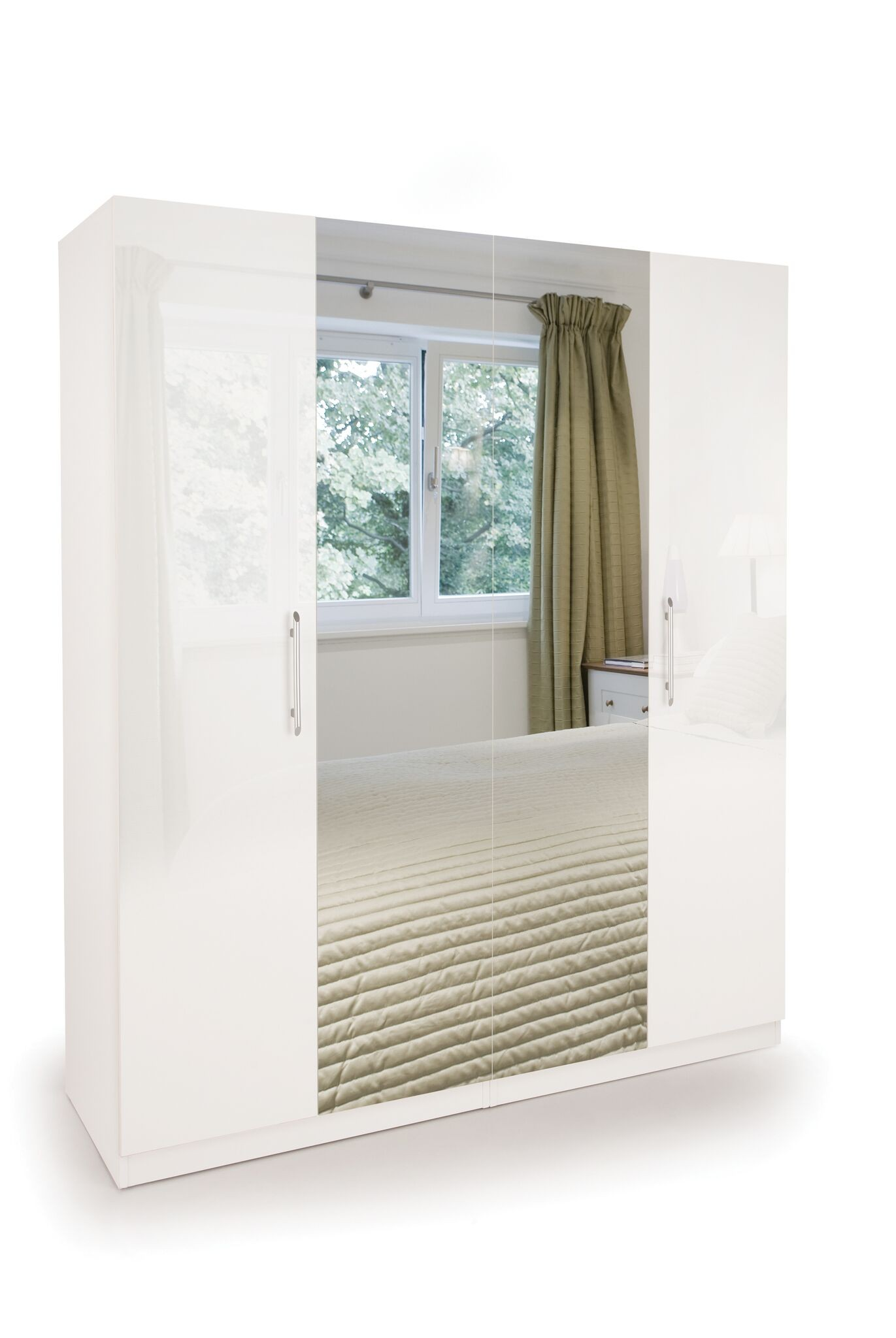 Connect Angel 4 Door Wardrobe with 2 Mirrors