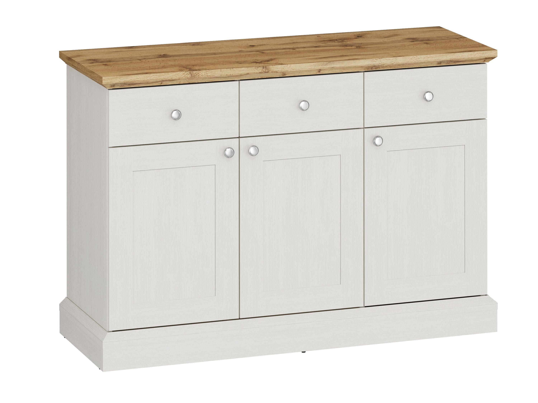 Ashover 3 Door 3 Drawer Sideboard - White & Oak