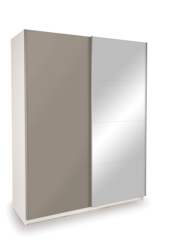 Dallas White Sliding Door Wardrobe - High Gloss Grey & Mirror