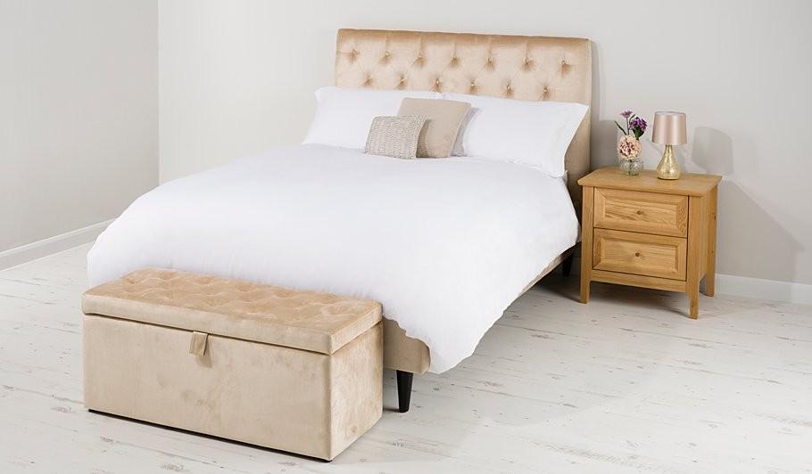 Champagne Velvet Bed
