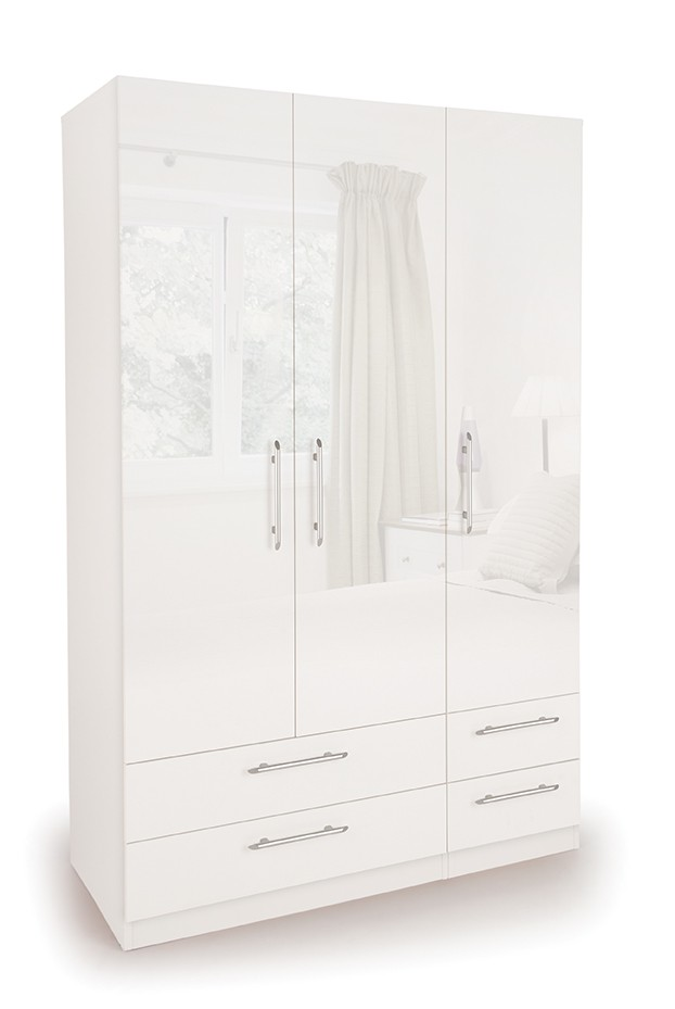 Connect Angel 3 Door Wardrobe with 4 Drawers