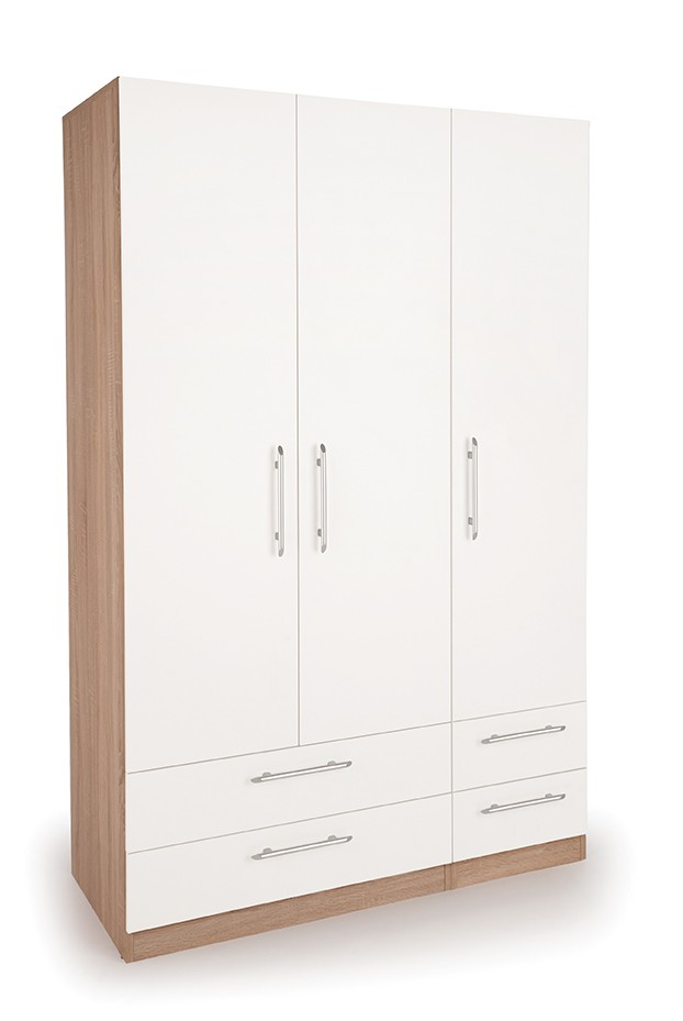 Connect Hyde 3 Door Wardrobe with 4 Drawers