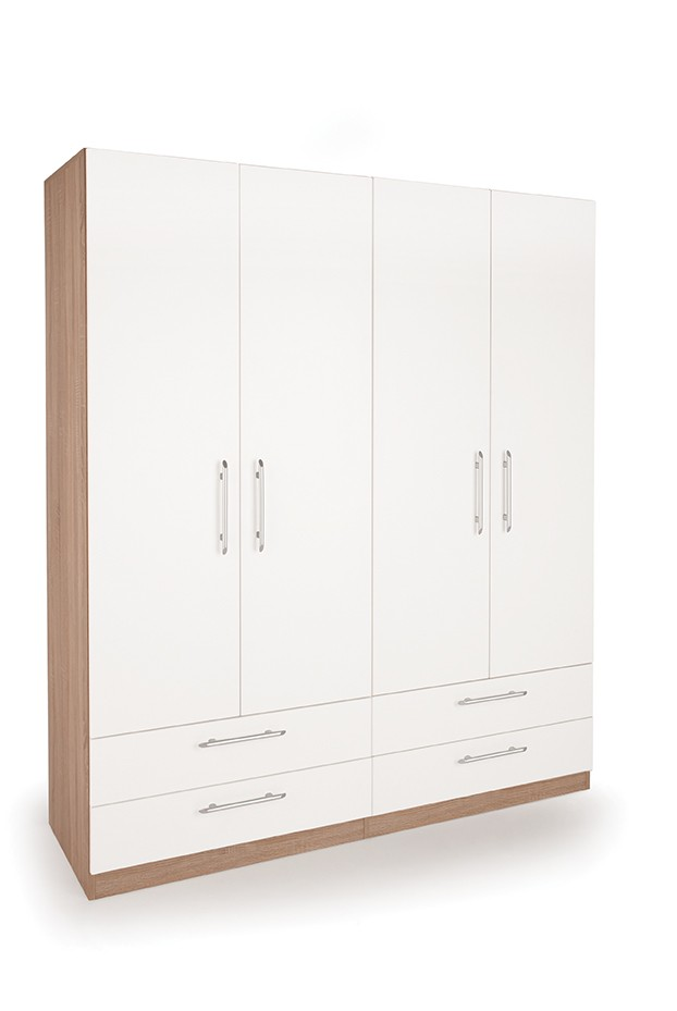 Connect Hyde 4 Door Wardrobe with 4 Drawers