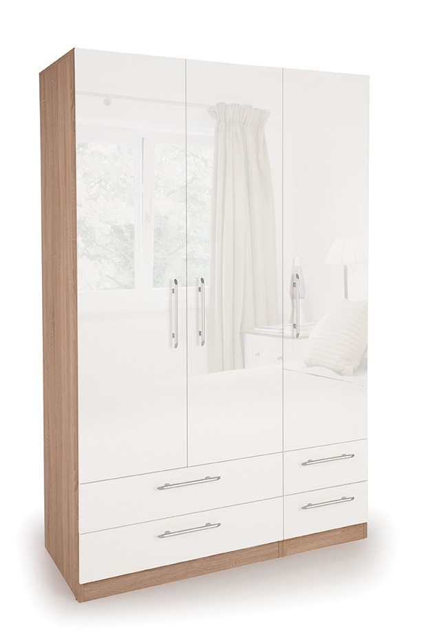 Connect Kew 3 Door Wardrobe with 4 Drawers