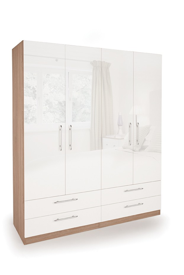 Connect Kew 4 Door Wardrobe with 4 Drawers