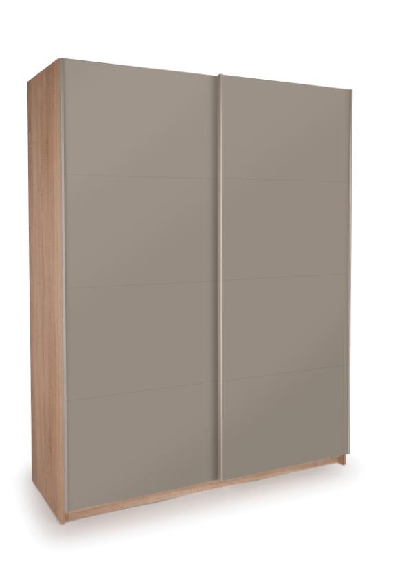 Dallas Oak Sliding Door Wardrobe - Double High Gloss Grey