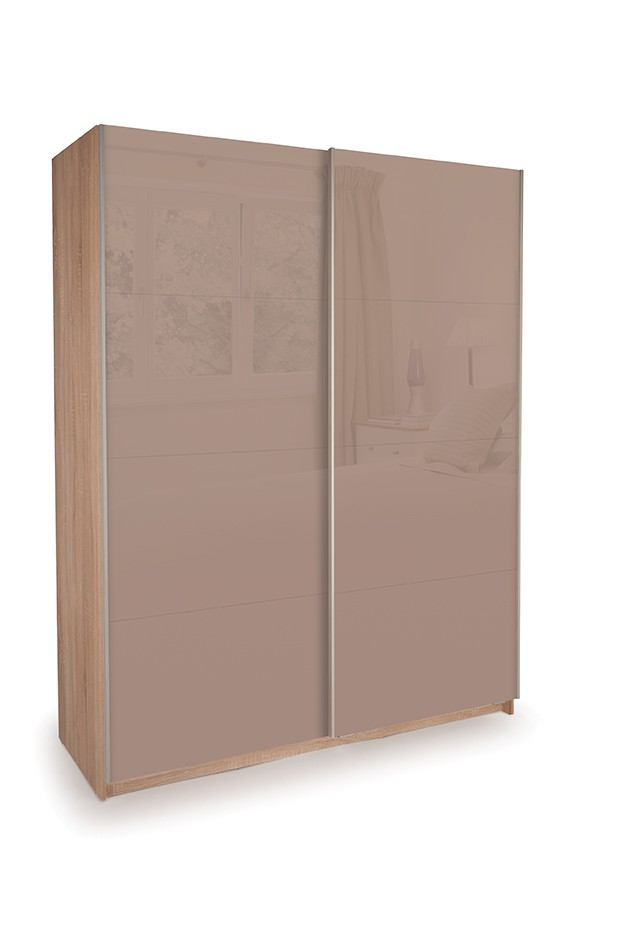 Dallas Oak Sliding Door Wardrobe- Double High Gloss Mocha