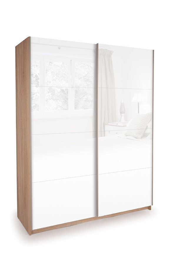 Dallas Oak Sliding Door Wardrobe- Double High Gloss White