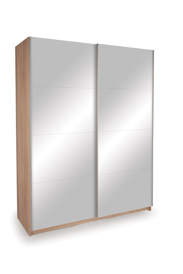 Dallas Oak Sliding Door Wardrobe- Double Mirror