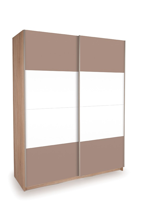 Dallas Oak Sliding Door Wardrobe- High Gloss White & High Gloss Mocha