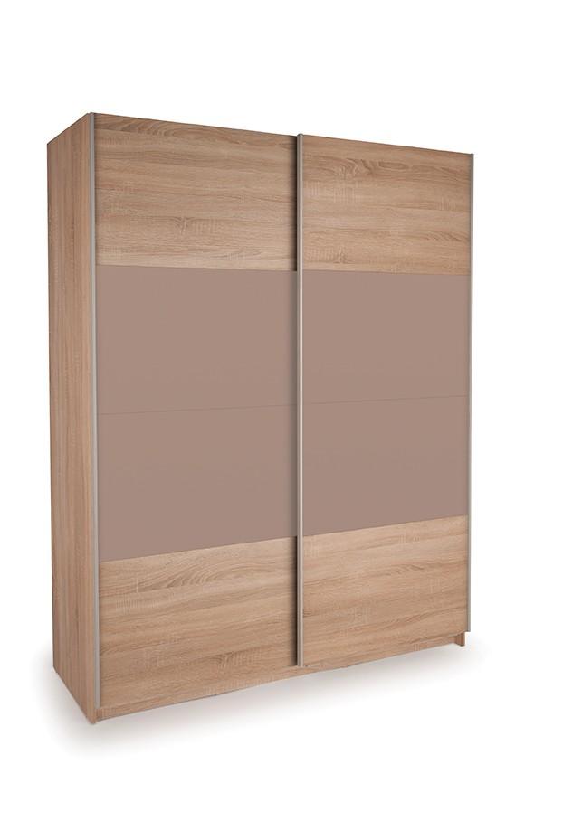 Dallas Oak Sliding Door Wardrobe- Oak & High Gloss Mocha