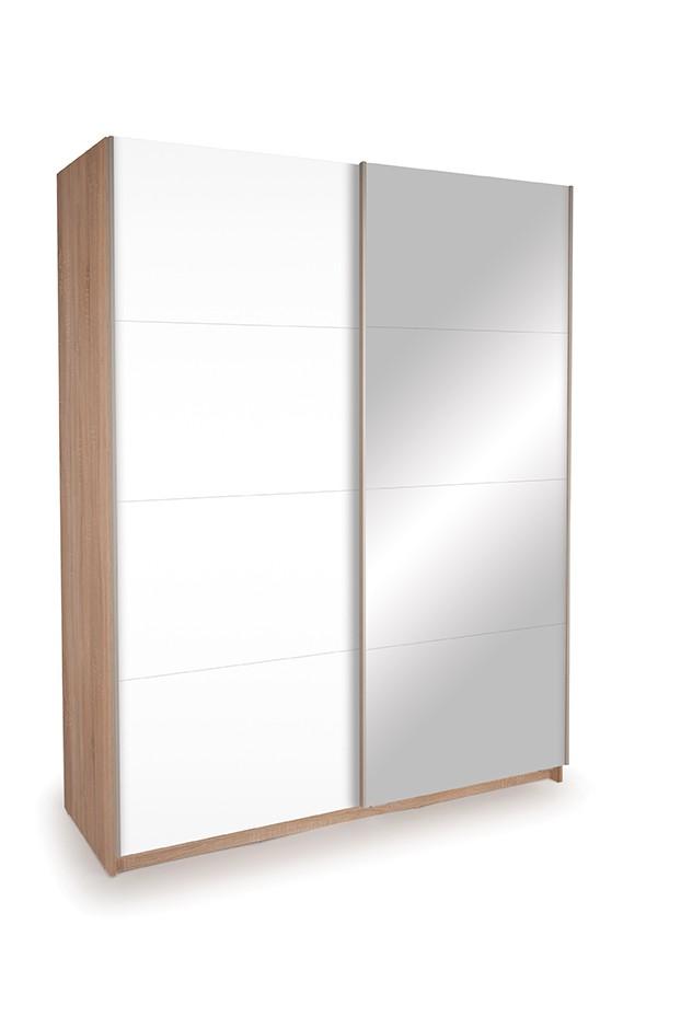 Dallas Oak Sliding Door Wardrobe- Mirror & High Gloss White