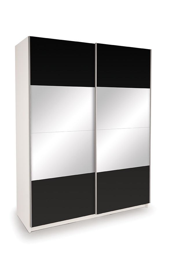 Dallas White Sliding Door Wardrobe- High Gloss Black & Mirror