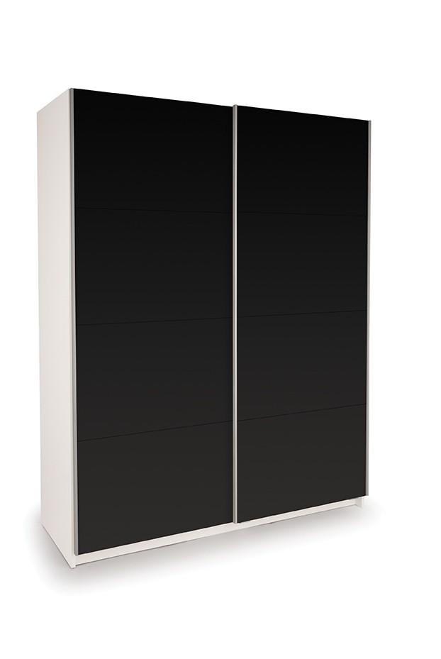 Dallas White Sliding Door Wardrobe- Double High Gloss Black