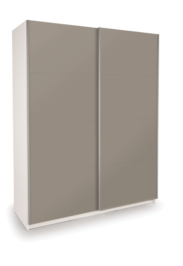 Dallas White Sliding Door Wardrobe - Double High Gloss Grey
