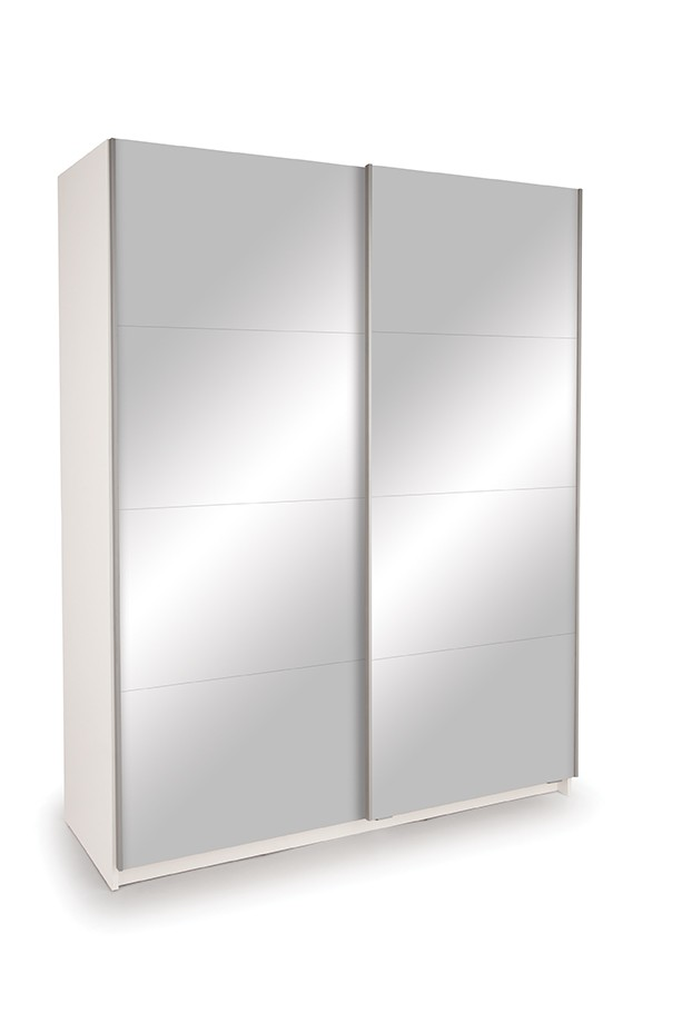Dallas White Sliding Door Wardrobe- Double Mirror