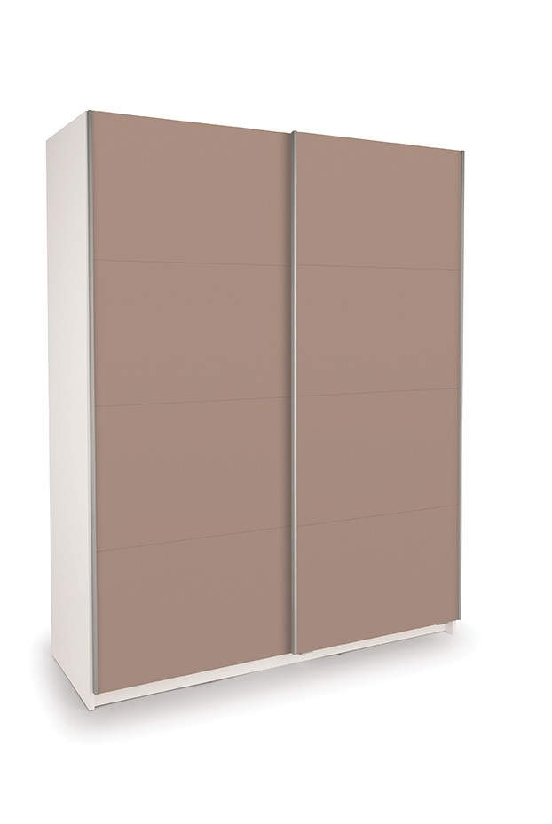 Dallas White Sliding Door Wardrobe- Double High Gloss Mocha