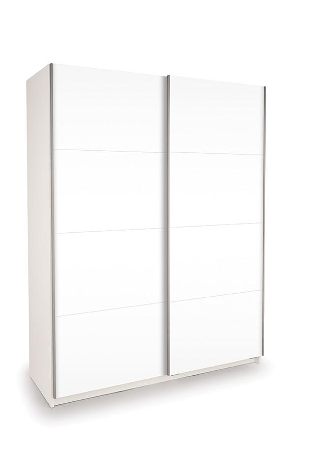 Dallas White Sliding Door Wardrobe- Double High Gloss White