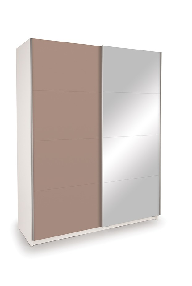 Dallas White Sliding Door Wardrobe- High Gloss Mocha & Mirror
