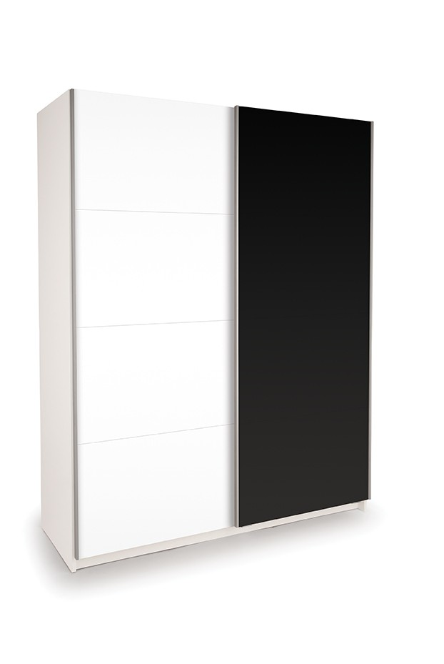Dallas White Sliding Door Wardrobe- High Gloss Black & High Gloss White