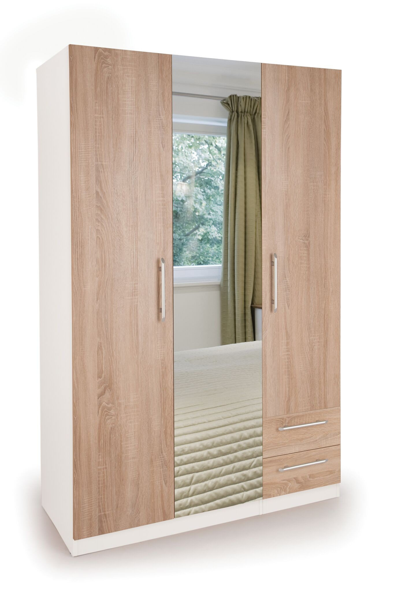 Connect Euston 3 Door Wardrobe with 2 Drawers and Mirror
