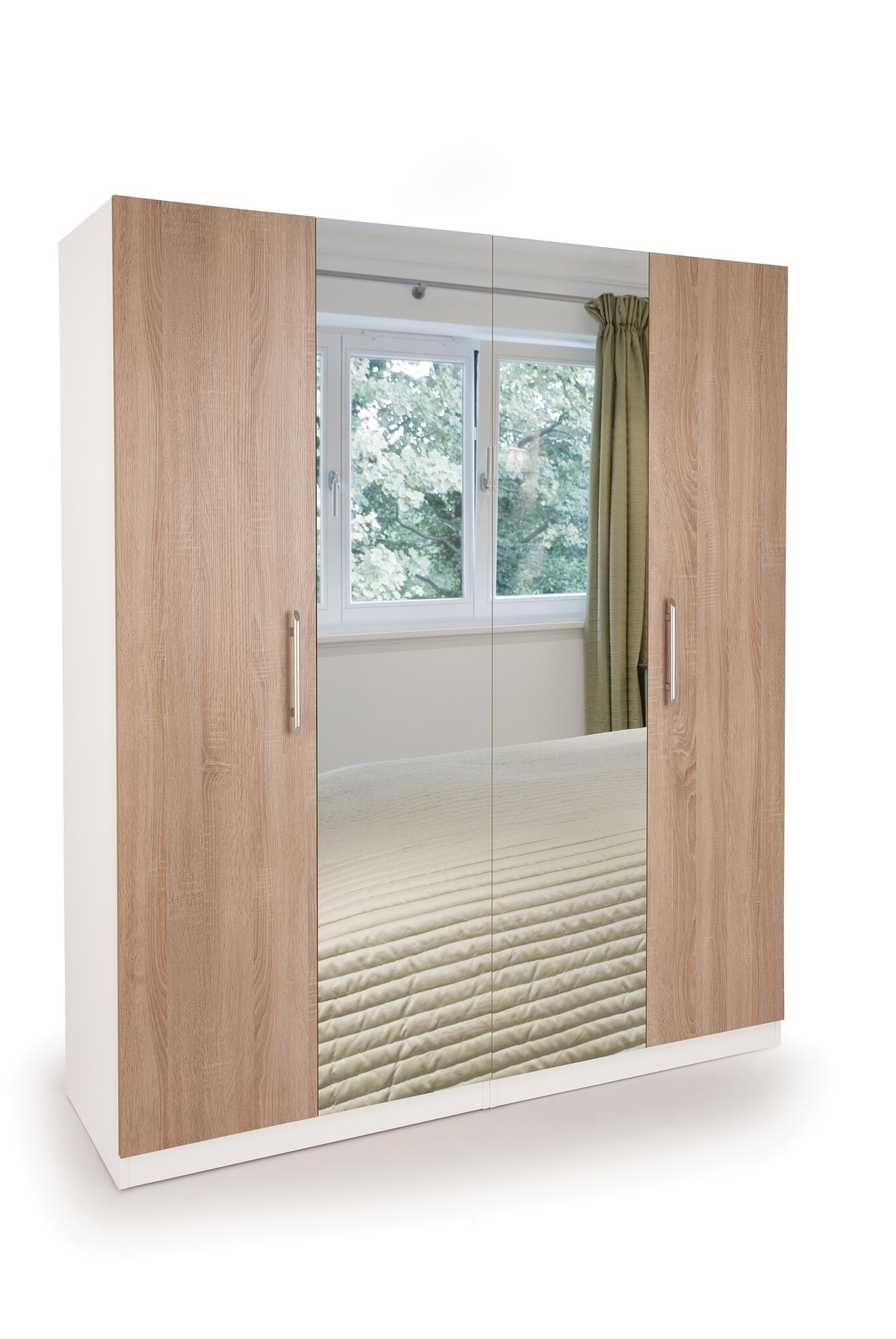 Connect Euston 4 Door Wardrobe with 2 Mirrors