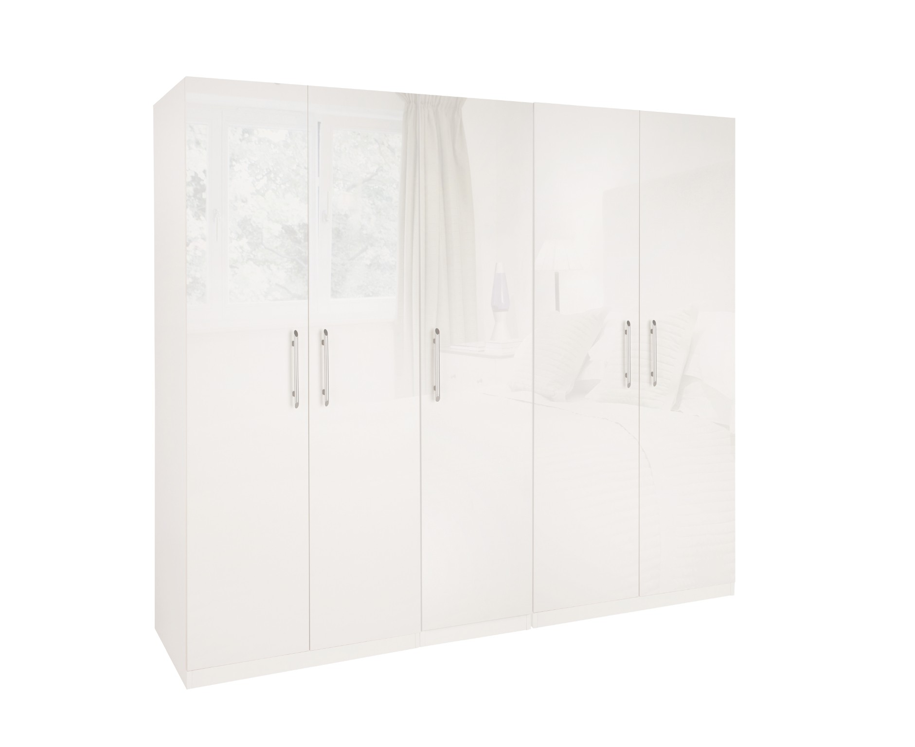 Angel High Gloss 5 Door Wardrobe