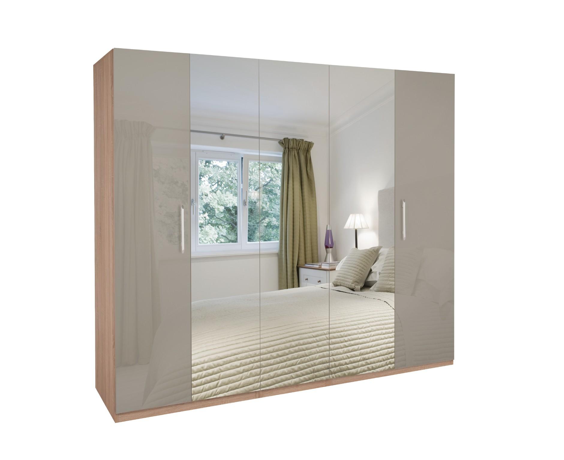 Kensington High Gloss 5 Door Mirrored Wardrobe