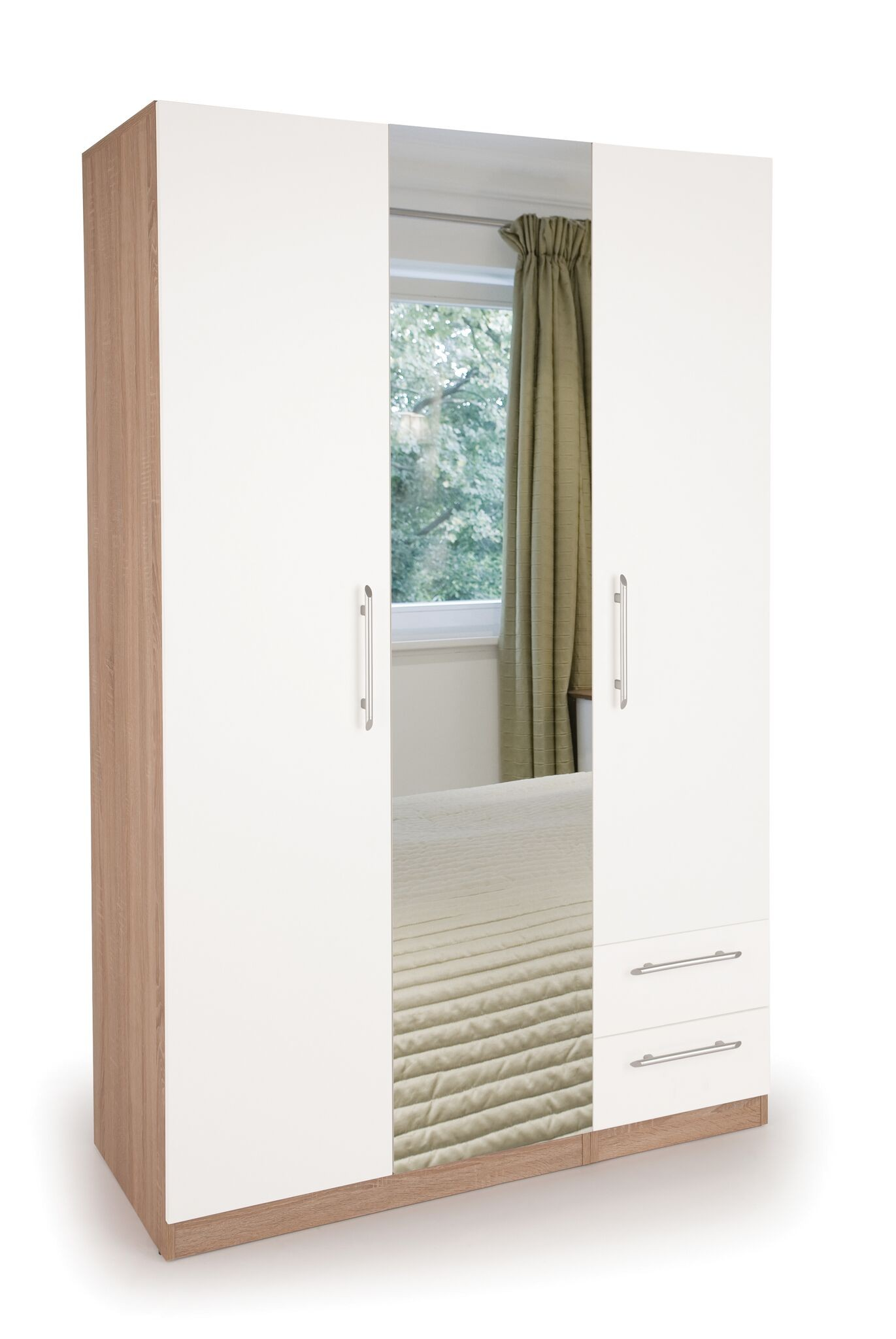 Connect Hyde 3 Door Wardrobe with 2 Drawers and Mirror