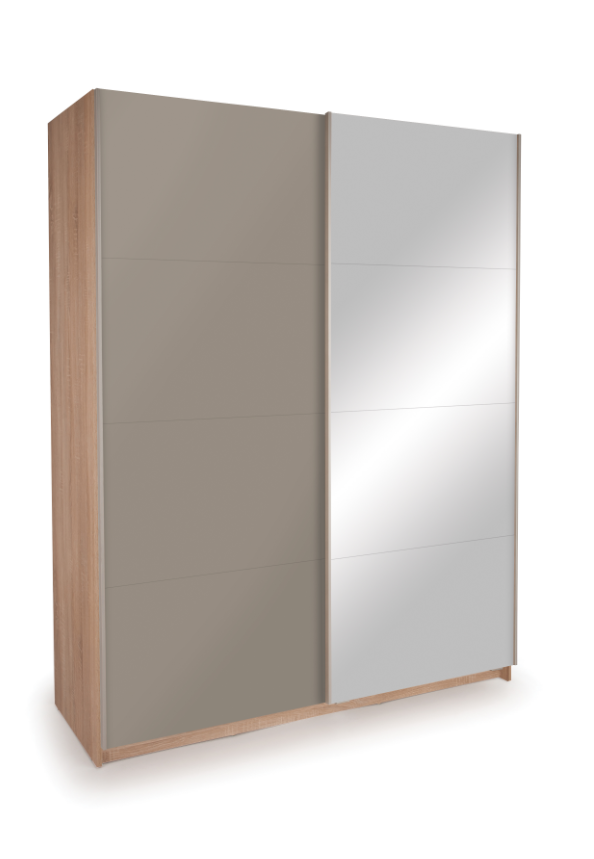 Dallas Oak Sliding Door Wardrobe - High Gloss Grey & Mirror