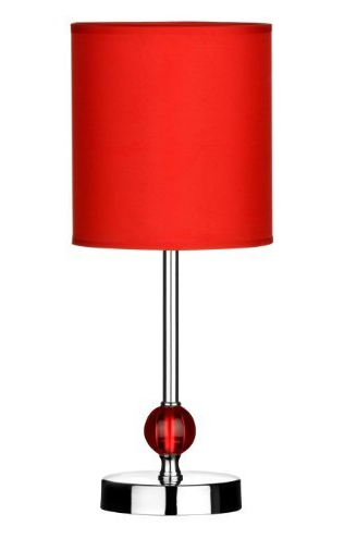Satin & Chrome Table Lamp - Red