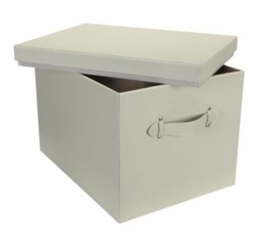 Faux Leather Storage Chest - Cream