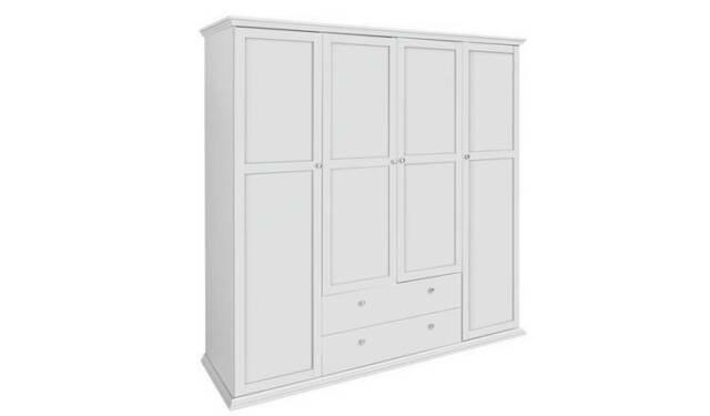 Paris 4 Door + 2 Drawer Wardrobe White
