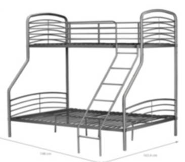 Triple Metal Bunk Bed Grey