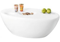Oval White High Gloss Assembled Coffee Table