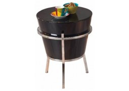 Round Black / Chrome Coffee Table / Relaxer Stool
