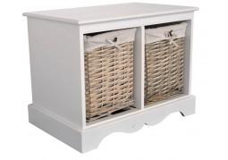 Malvern Bench - Wicker Basket Storage - 2 Basket Unit
