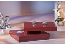 Red High Gloss Square 360 Degrees Rotating Coffee Table