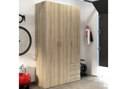 Space 3 Door 3 Drawer Oak Wardrobe