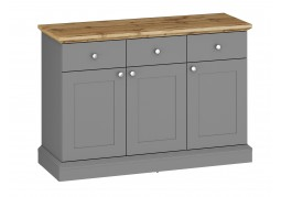 Ashover 3 Door 3 Drawer Sideboard - Grey & Oak