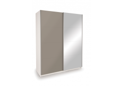 Dallas White Sliding Door Wardrobe - High Gloss Grey & Mirror