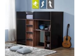 Vienna Walnut & High Gloss Black Wooden High Sleeper Cabin Bed
