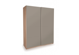 Dallas Oak Sliding Door Wardrobe - Double High Gloss Grey