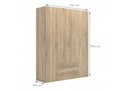 Space 4 Door 3 Drawer Oak Wardrobe