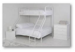 Triple Metal Bunk Bed - White